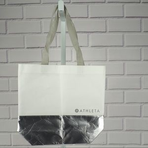 Athleta small shopping tote white silver